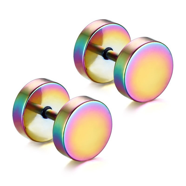 Punk Double Sided Round Titanium Steel Earrings Men Women Blue Gold-color Fake Ear Plugs Gothic Barbell Stud Earring 1Pair