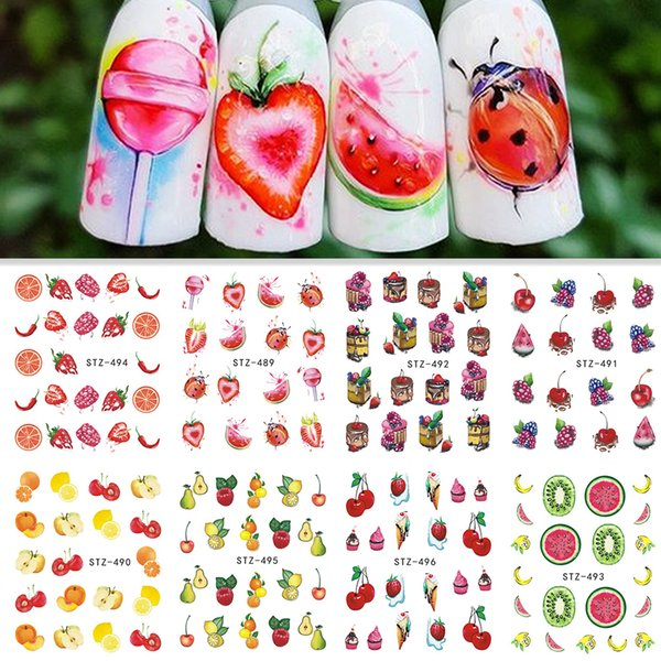 1 Sheet Water Transfer Nail Sticker Decals Fruit Cream Cake Cat Beauty Decoration Designs DIY Color Taoo Tip SASTZ489-500
