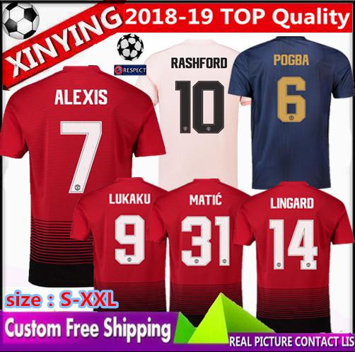 2019 18 19 Man ALEXIS RASHFORD POGBA Soccer Jersey 2018 United LUKAKU  Champions League 2019 POGBA Matic MARTIAL UCL FRED Football Jerseys Shirt  From ... daf8f6a2f