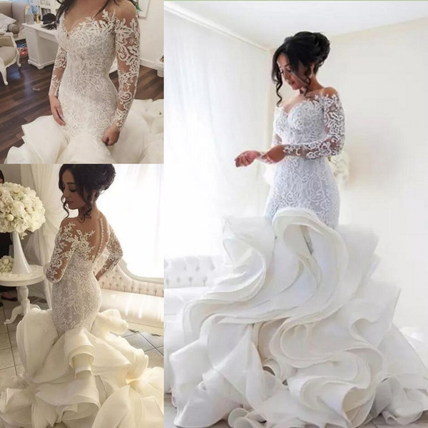 Plus Size 2020 Long Sleeves Lace Mermaid Brautkleider Romantische Tiered Rüschen Rock Brautkleider Afrikanische Brautkleider Vestido De Noiva