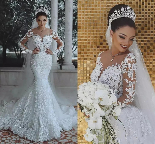 2019 New Luxury Overskirts Mermaid Wedding Dresses Sheer Neck Beaded Crystal Lace Appliques Arabic Long Sleeves Plus Size Formal Bridal Gown