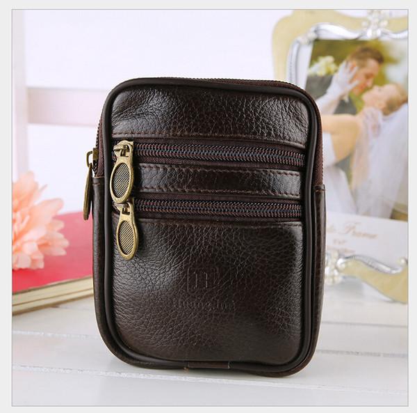 2015 homens da cintura bolsa de cinta de sacos casos bolsa carteira cinto de telefone móvel PU marca de moda de couro preto e marrom
