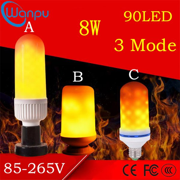 LED Flame Effect Lights Bulbs E27 2835SMD 8W 3 Modes Flickering Emulation Decorative Flame Lamps For Christmas Halloween Decoration