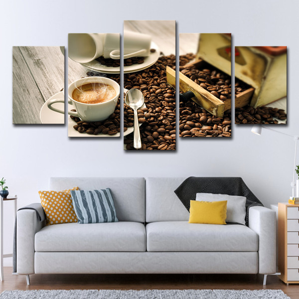 Home Wall Art Pictures Canvas HD Prints Posters 5 Pieces Coffee Cup Beans And Coffee Aroma Paintings Kitchen & Restaurant Decor
