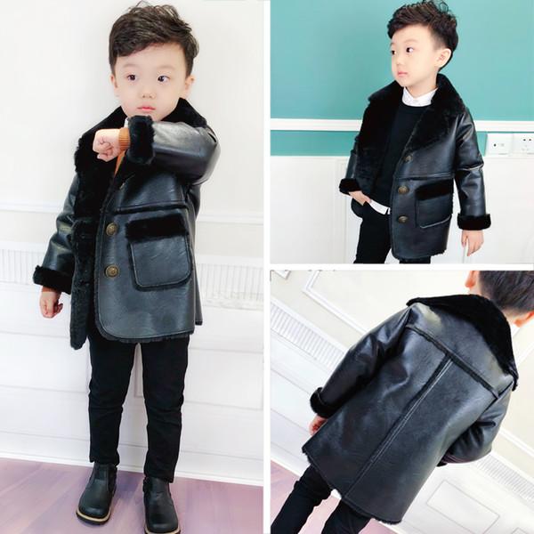 solo PU chaqueta de invierno 1pc nuevo estilo de moda de los niños de invierno 2018 espesar cálido paño grueso y suave en el interior abrigo niños viento abrigo