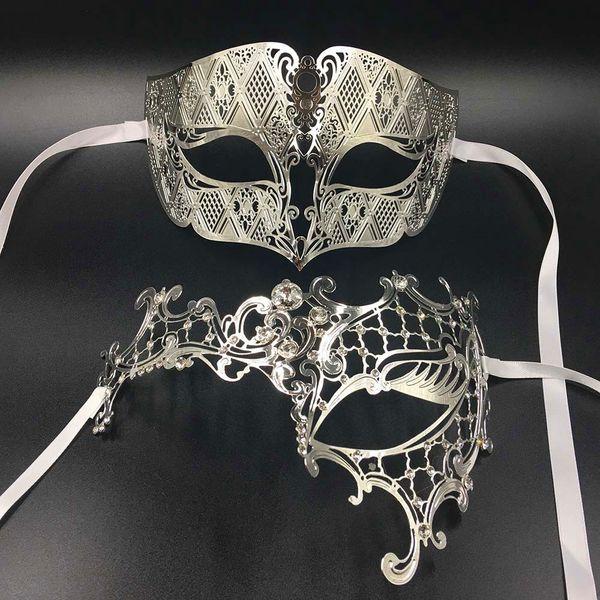GNHYLL любовник женщина мужская Маска серебро металл пара Венецианский Маскарад маски Золотой мяч свадьба Марди Гра партия маски для глаз набор