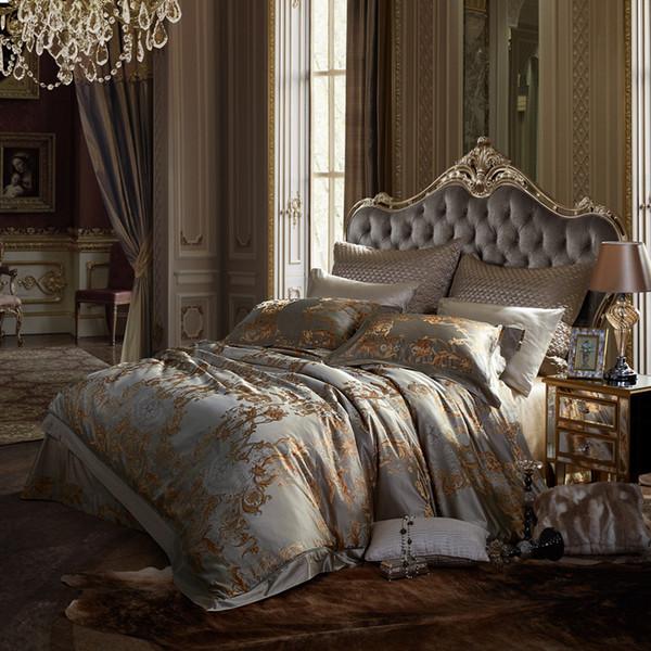 soie literie argent jacquard housse de couette lit royal literie ensemble broderie luxe européen couvre-lit king size linge hometextile