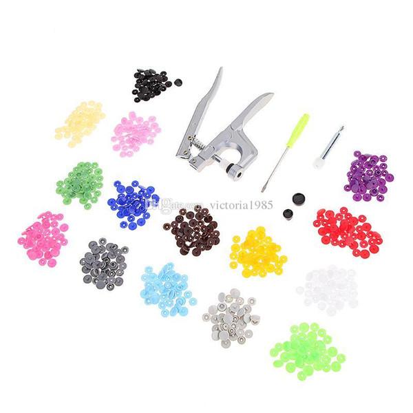 1 Set Metal Press Pliers Tools Used for T5 T8 Kam Button Fastener Snap Pliers+150 pcsT5 Plastic Resin Press Stud Cloth Diaper