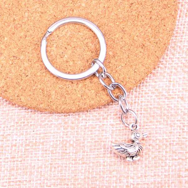 Fashion 28mm Key Ring Metal Key Chain Keychain Jewelry Antique Silver Plated duck 17*17*8mm Pendant