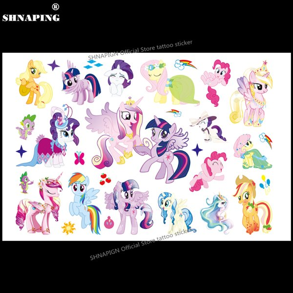 SHNAPIGN Cute Pony Children Cartoon Temporary Tattoos Sticker Fashion Summer Style Waterproof Girls Kids Boys Hot