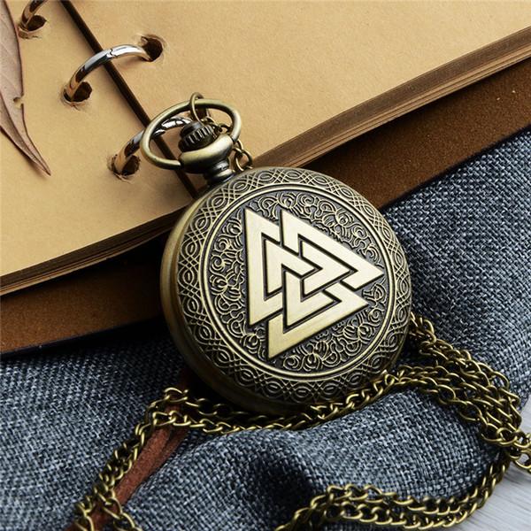 Unique Retro Pocket Watch Gold Colors Triangle Quartz Watch Necklace Pendant Pocket Watches for Women Men Sweater Chain Gift