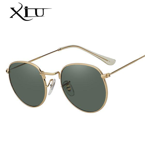 XIU Oval Shaed Metal Sunglasses Men Women Brand Designer Mirror Lens Sun Glasses Retro Vintage Luxury Quality Oculos UV400