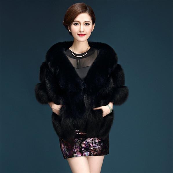 O Envio gratuito de Mulheres de Inverno Casamento Faux Fox Fur Nupcial Envoltório Shrug Capa Xale Bolero Casaco Jaqueta Para A Dama De Honra Da Noiva com bolso WT34
