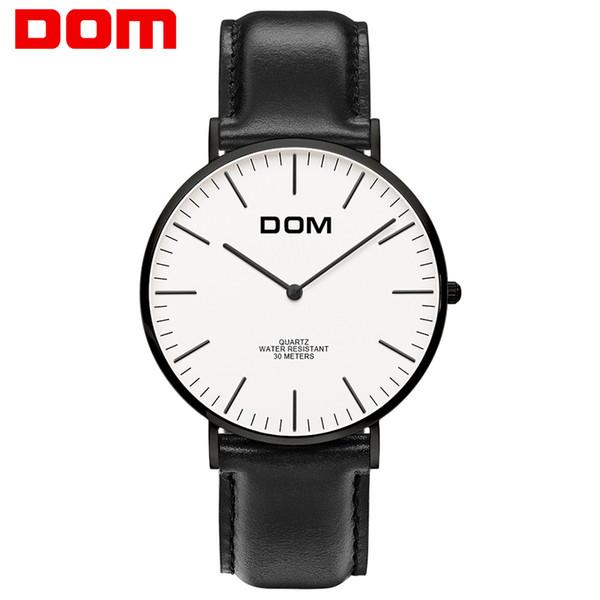 Guarda uomo DOM Top Brand Luxury Orologio al quarzo da uomo Casual orologio al quarzo cinturino in pelle ultra sottile orologio maschile relogio masculino