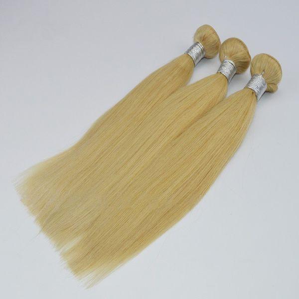 Brazilian Straight Human Hair Weaves Honey Blonde 613# Body Wave Hair 3 Bundles Colored Brazilian Honey Blonde Virgin Hair Weft Deals