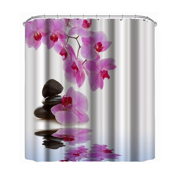 athroom Products Shower Curtains Flower Waterproof Shower Curtain Polyester Fabric Bath Bathing Bathroom Curtains with Hooks for Home Dec...