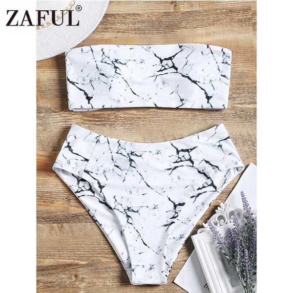399bf472395a5 wholesale Marble Print Bandeau Bikini High Waist Swimwear Women Swimsuit  Sexy Padded Strapless Swimsuit Beachwear Bathing