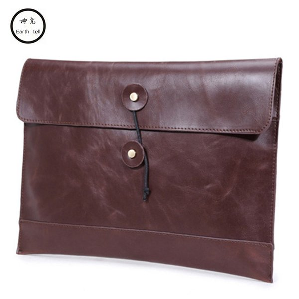 Vintage PU leather A4 file envelope bag laptop briefcase men business casual fast post leisure stitching square bags document