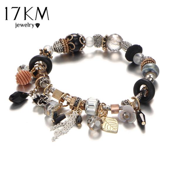 whole sale17KM Vintage Boho Jewelry Flower TasselBracelets & Bangles For Women Femme Beads Charm Crystal DIY Love Bracelet Bijoux Ethnic