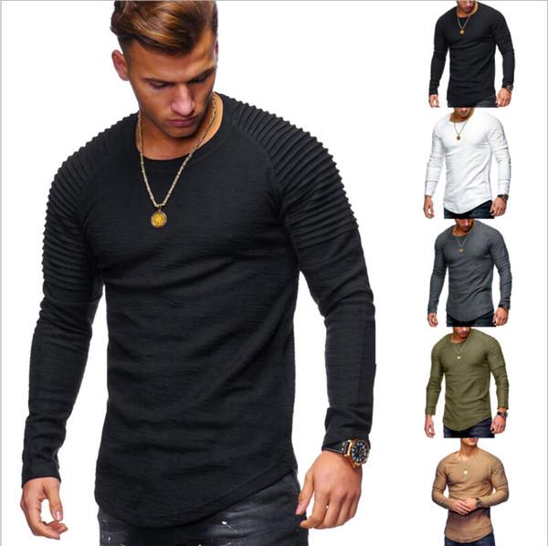 Europa e Stati Uniti 2018 commercio estero nuova t-shirt a maniche lunghe a maniche lunghe modello di bambù a pieghe spalla di bambù