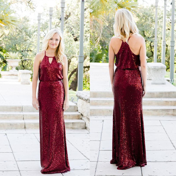 best selling Sparkle Burgundy Sequins Bridesmaids Dresses 2019 Western Country Garden Boho Wedding Guest Party Gowns Evening Prom Dress Cheap BM0204