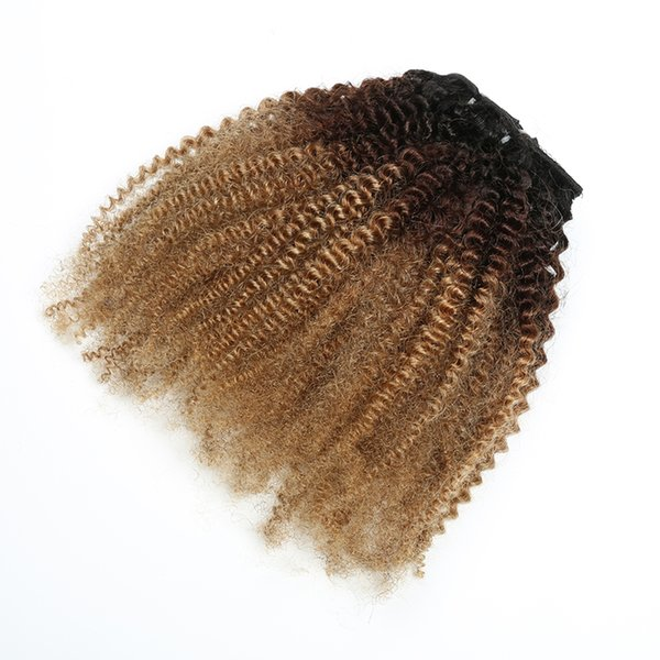 Brazilian Virgin Human Hair African American afro kinky curly 8pcs per set clip in human hair extensions natural black clips in hair