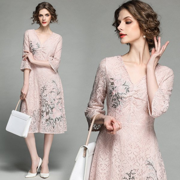 Lace Ball Gown for Party To Wear Women V Neck Elegant Embroidery Floral Slim Long Prom Evening Dresses