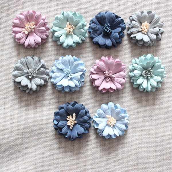 Girls kids hair flowers fabric flower Daisy flowers for hair accessories