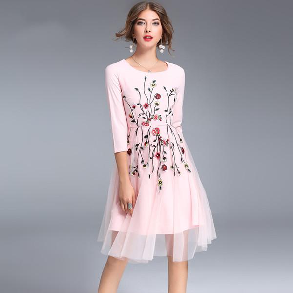 Платье 2018 осень элегантный Винтаж O-образным вырезом до колен плиссированные платье женский