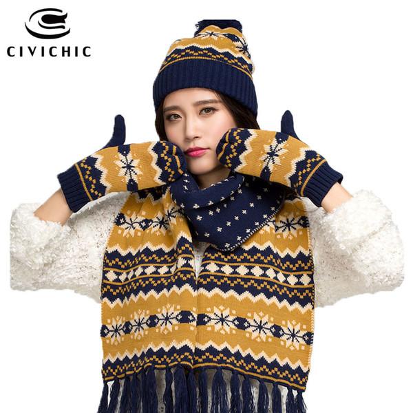 CIVICHIC Winter Warm Set Lady stricken Wollschal Schal Handschuh 3 Stück Weihnachten Snowflake Headwear Pompon Beanies Quaste Schal SH128
