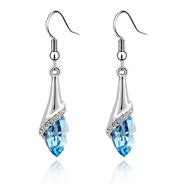 Blue Crystal from Swarovski Elements Long Pendant Drop Dangle Earring Women Fashion Party Jewelry Valentine's Day Gift 2001