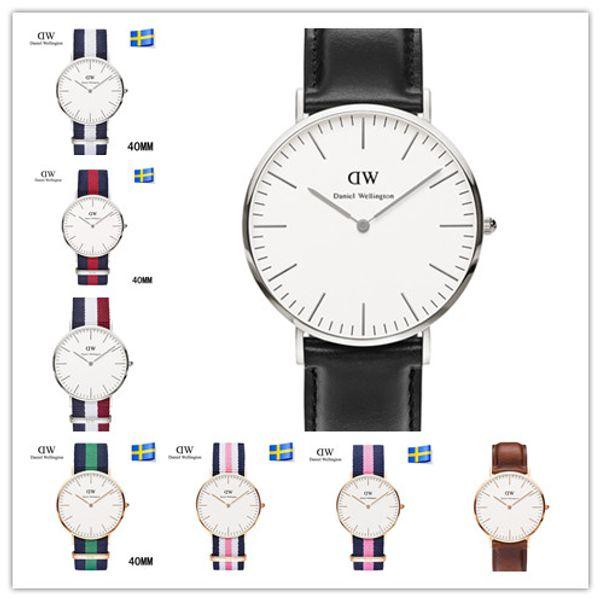 2019 famous brand Daniel women mens Wellington's WATCHes fashion nylon strap 40mm silver mens watches box Montre Femme Relogio Feminino dw01