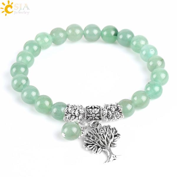 CSJA New Meditation Green Aventurine Jade Women Strand Bracciali in pietra naturale Yoga Mala Preghiera Rosario perline Guarigione Reiki Albero della vita E748