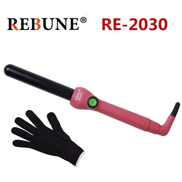 REBUNE Professional Curling Wand and Curling Iron - Dual Voltage Hair Curler for All Hair Types with Glove and Travel Case