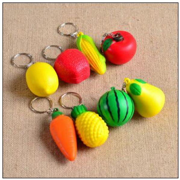 PU Squeeze Fruit Key Chain Vegetable Phone Charms Keychain Cell Phone Straps Handbag Purse Pendant Keyring CCA9578 500pcs
