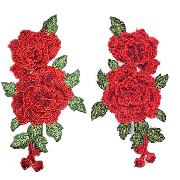 Rosa vermelha Bordado Costura No Remendo Flor de Ferro No Remendo Adesivos Para Roupas Crachá Costura Tecido Applique Suprimentos