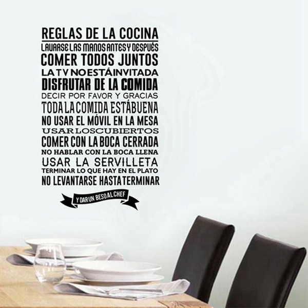Acquista Decorazioni La Casa Poster Adesivi Adesivi Regole Cucina Spagnola,  Decalcomanie Da Muro In Vinile Fai Da Te Decorazioni Da Parete Cucina ...