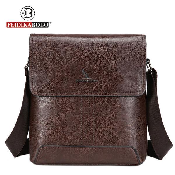 FEIDIKABOLO Famous Brand Men's Crossbody High Quality Lather Bag Male Shoulder Bags For Man 2018 Brown Gentleman Messenger Bags