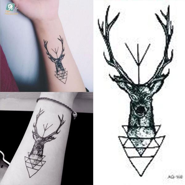 Waterproof Temporary Tattoo Sticker Elk Head Deer Tattoo Bucks Horn Antlers Water Transfer Fake Flash For Men Girl Painted Tattoos Personalized Fake
