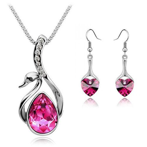 Spring 2014 Wholesale Crystal Fashion Jewerly Sets Swan Pendants Necklace Leaves Stud Earring and Ring Silver Plated For Women
