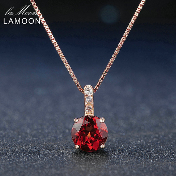 Lamoon 7mm 1.5ct 100% Natural Round Red Garnet 925 Sterling Silver Chain Pendant Necklace Women Jewelry S925 LMNI040 Y18102910