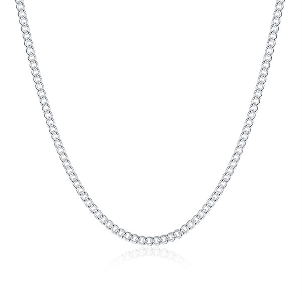 Fashion Jewelry Silver Chain 925 Necklace 2mm Curb Chain for Women Girl 16 18 20 22 24 inches