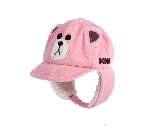 New cute bear hats baby adult fashion winter warm plush cap embroidered baseball cap plus lambskin ear protectors