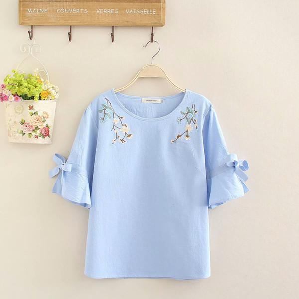 Plus size short Sleeve O-Neck women tee shirt floral Embroidered women summer t-shirt 2018 blue & white ladies t shirt femme 4XL