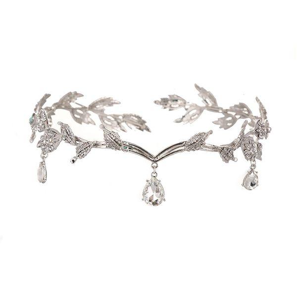 Crystal bridal hair accessories rhinestone water drop leaf tiaras crowns wedding headband frontlet bride bridesmaid jewelry O30