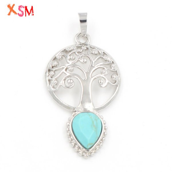 xinshangmie 1Pcs Personalized Design Green Turquoises Cut Face Water drop Life Tree Pendant Women Elegant Charm Jewerly