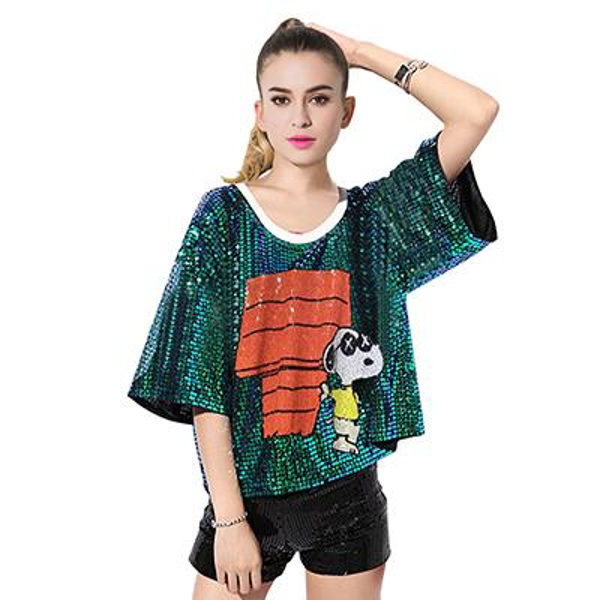 Neues Design Custom Sparkly hHip Hop Pailletten Muster Frauen T-Shirt
