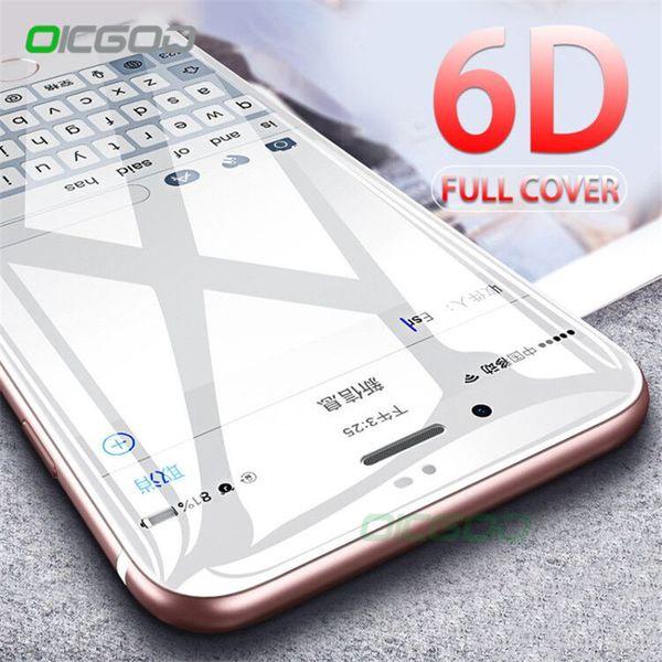 OICGOO 6D Verre Trempé Incurvé Pour 8 7 6 Plus X 10 Protecteur d'écran Full Cover Pour 6 6s Plus 7 8 Verre De Protection
