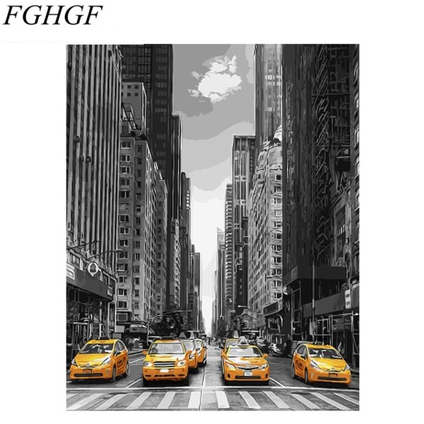 FGHGF No Framed Modern City Car DIY Painting By Numbers Landscape Wall Art Picture Coloring By Numbers Unique Gift For Home