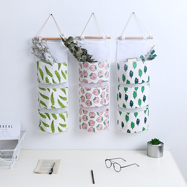 Cotton linen Wall Hanging Storage Pockets Bag-hanger Door Hanging Organizer Oxford Kids Closet Wardrobe Underwear Organizer